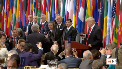 President Trump Gives A Speech And Toasts Leaders At United Nations Luncheon
