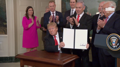 Trump Signs Order Recognizing Golan Heights As Part of Israel
